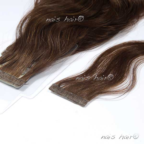 Tape Hair Extensions Wavy 4 Dark Brown 20 Inch