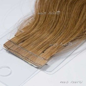 Tape Hair Extensions Wavy # 8 (Light Brown)