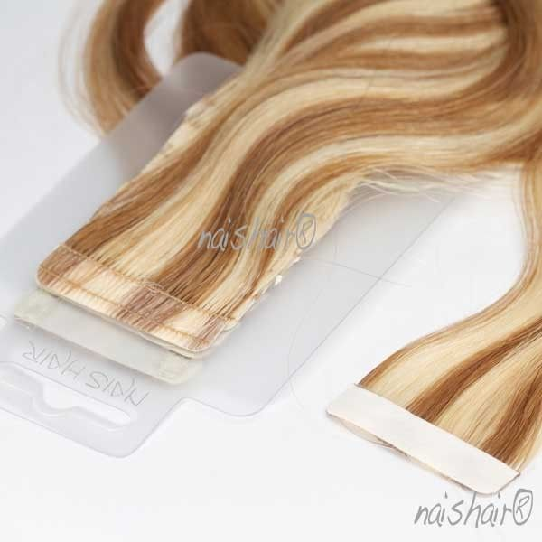 Tape Hair Extensions Wavy #8/613 (Mixed)