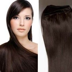 Hair Weft Extensions #2 (Darkest Brown) 24 Inch