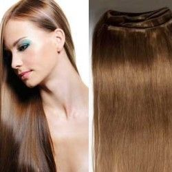 Hair Weft Extensions #8 (Light Brown) 24 Inch