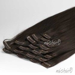 Clip in Human Hair Extensions #1B Natural Black