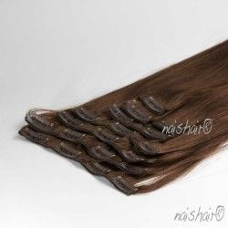 Clip in Human Hair Extensions #4 Brown